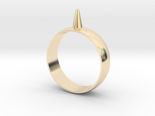223-Designs Bullet Button Ring Size 15 in 14K Yellow Gold