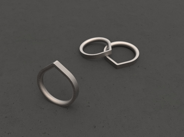 """""""ANGLE""""_Women ring in Polished Bronzed Silver Steel"""