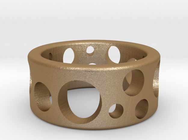 Hole Ring in Matte Gold Steel