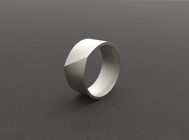 """LINE""_Men ring in Polished Bronzed Silver Steel"