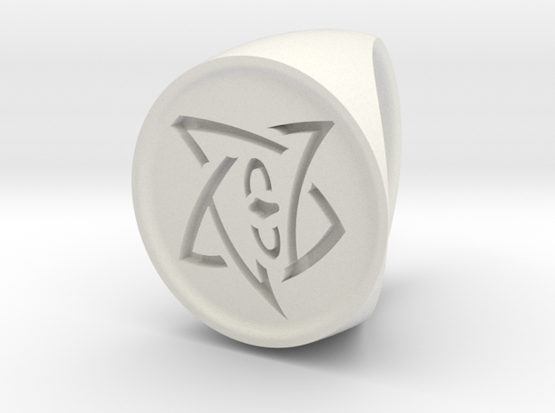 Elder Sign Signet Ring Size 7 in White Natural Versatile Plastic