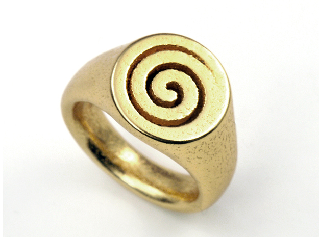 Spiral Ring in Polished Bronzed Silver Steel