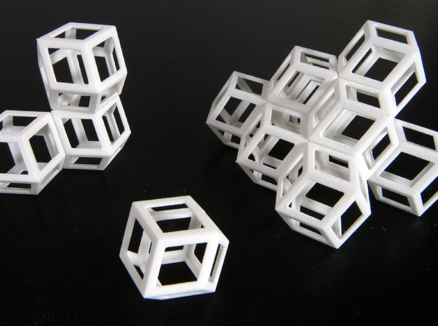 Space filling rhombic dodecahedra in White Natural Versatile Plastic