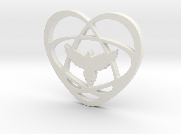 Atom Star Heart Bird in White Natural Versatile Plastic