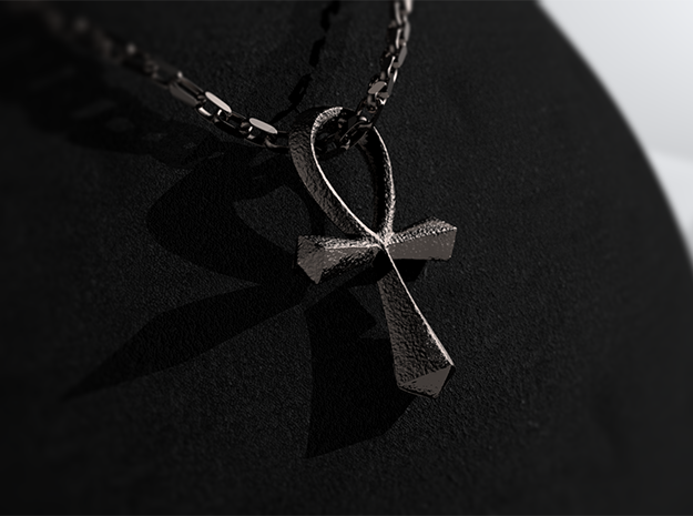 Ankh in Polished Bronzed Silver Steel