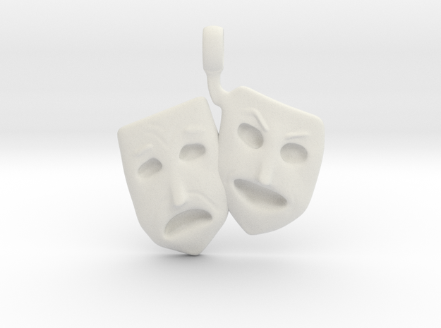 Theatre Faces Pendant in White Natural Versatile Plastic