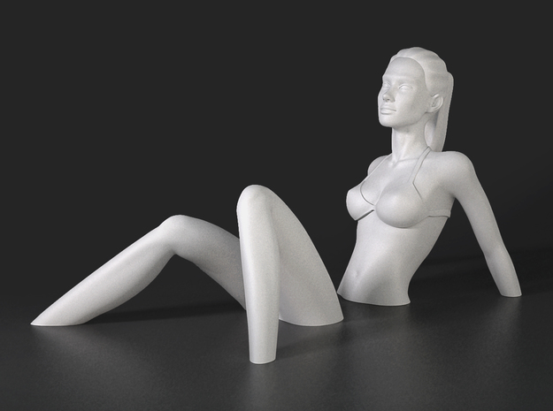 Sinking Girl Art Sculpture in White Natural Versatile Plastic