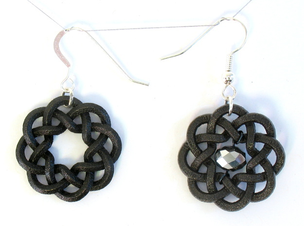Woven Starburst Earrings - Small 3d printed Printed in black steel, with earring findings added