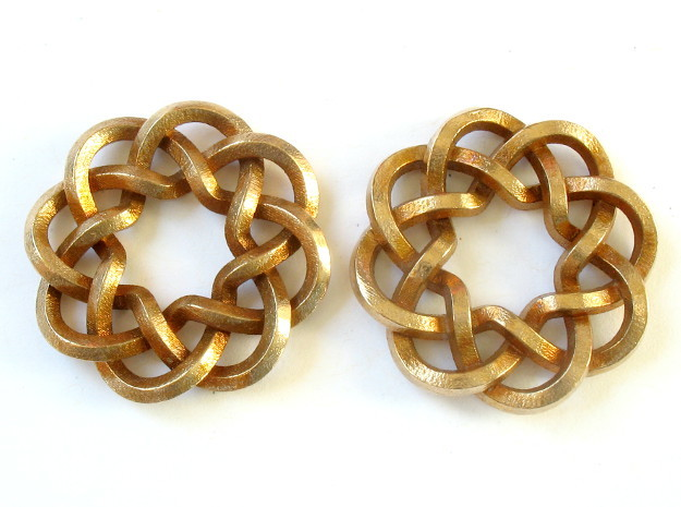 Woven Starburst Earrings - Small 3d printed Printed in raw bronze