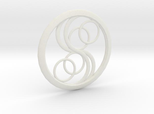 Double Yin Pendant in White Natural Versatile Plastic