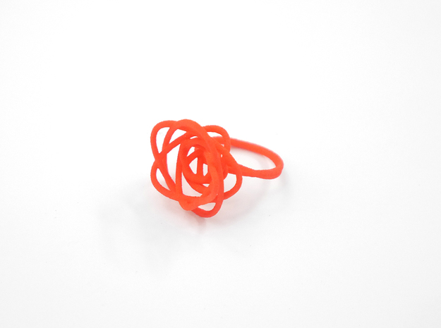 Sprouted Spiral Ring (Size 8) 3d printed Coral (Custom Dyed Color)