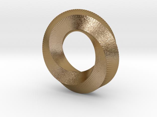 Mini (5,3) Mobius Loop in Polished Gold Steel