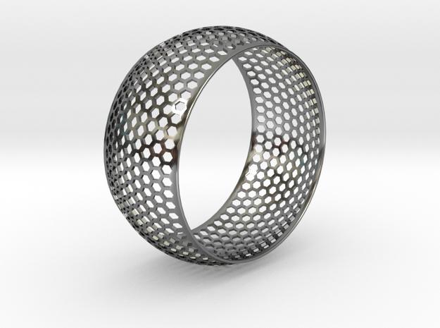 Horizontal Honey Comb Rounded Bracelet in Premium Silver