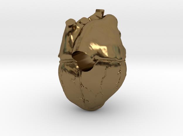 Heart European Charm Bracelet Bead in Polished Bronze