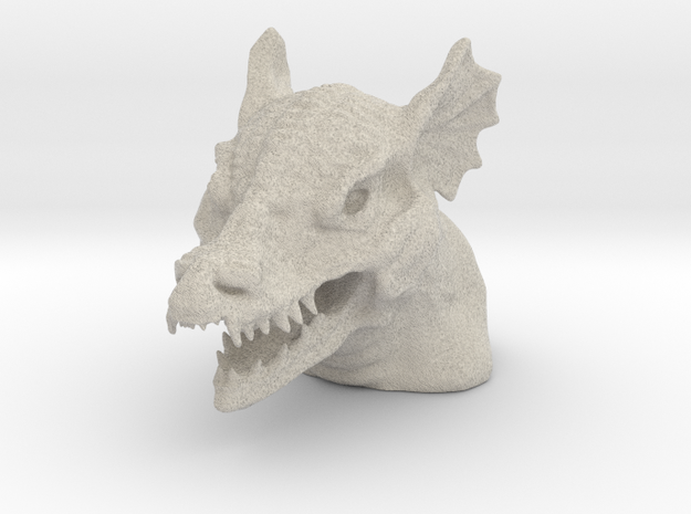 Dragon Bust - Reduced Material Version in Sandstone