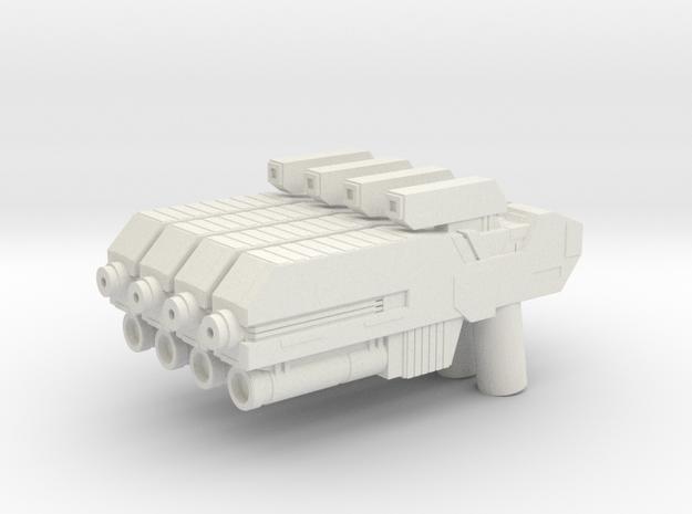Custom scifi assault rifle x4 for Lego minifigs in White Natural Versatile Plastic