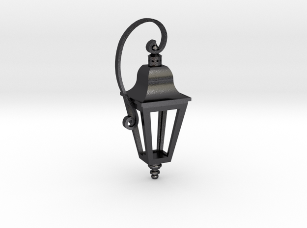 English Street Lamp Pendant in Polished and Bronzed Black Steel