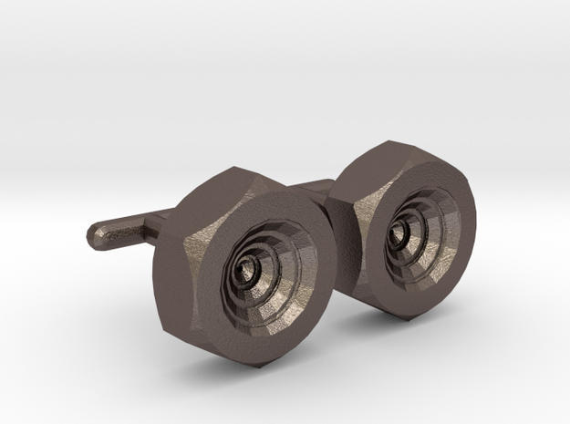 Spiral Nut Cufflinks in Polished Bronzed Silver Steel