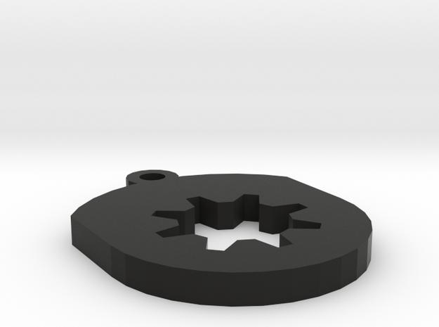 Gear Insert For Circular Frame Pendant in Black Natural Versatile Plastic