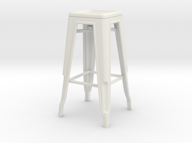 1:24 Tall Pauchard Stool in White Natural Versatile Plastic