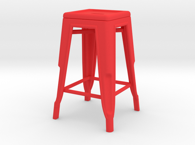 1:12 Pauchard Stool in Red Strong & Flexible Polished