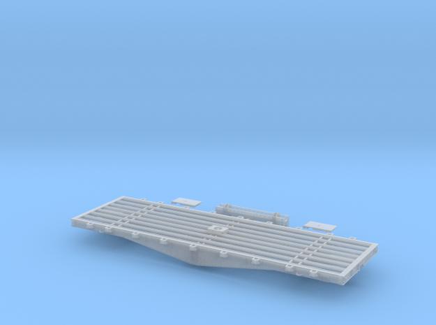 PRR F22 Flat Car w/Bridge in S Scale in Smooth Fine Detail Plastic