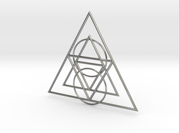 Sacred Triangle Pendant in Polished Silver