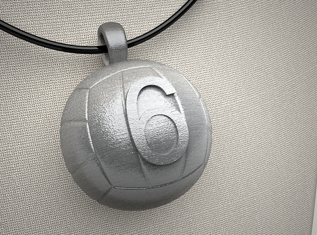 Volleyball Pendant #6 in Polished Bronzed Silver Steel