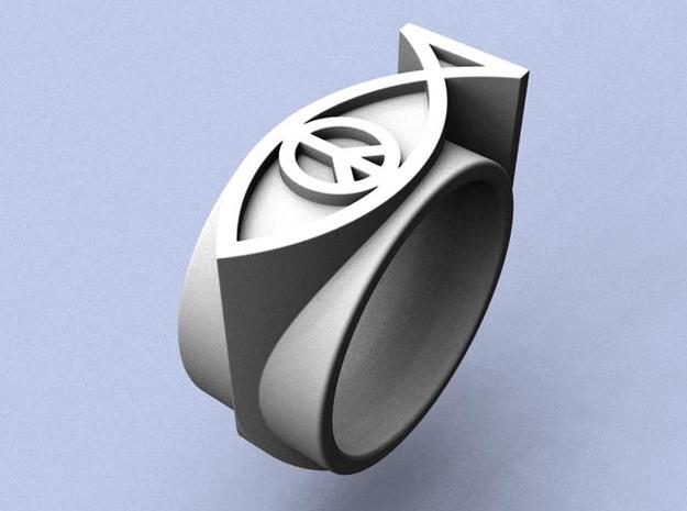 Peace On Earth Ring - Size  9 (18.99 mm) in Polished Silver