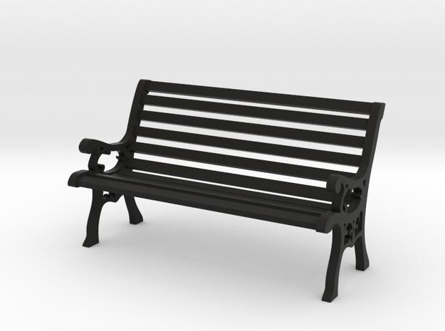 Park Bench 1:20 Scale in Black Natural Versatile Plastic