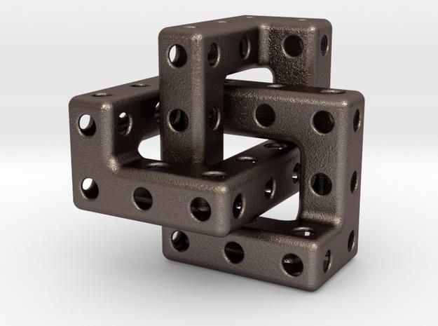 Cubic Trefoil Pendant in Polished Bronzed Silver Steel