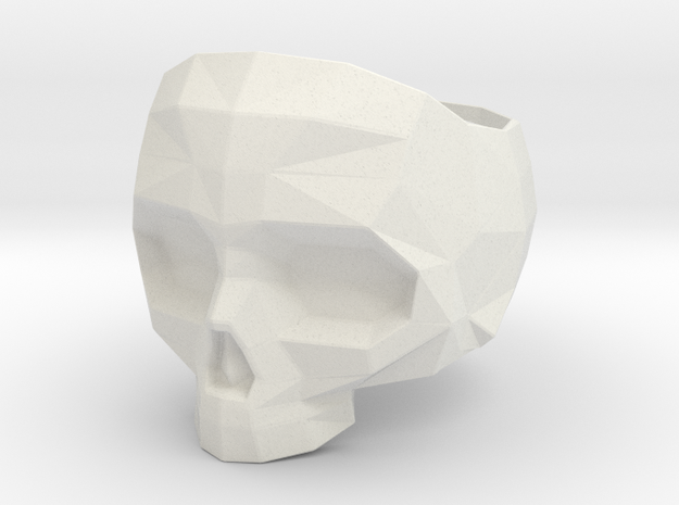 Lapidated Skull Ring Size 8 - 18.14 mm inner size in White Natural Versatile Plastic
