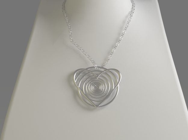Hypnotic Heart Pendant in Polished Silver
