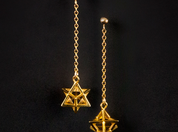 Star Tetrahedron earrings #Gold 3d printed