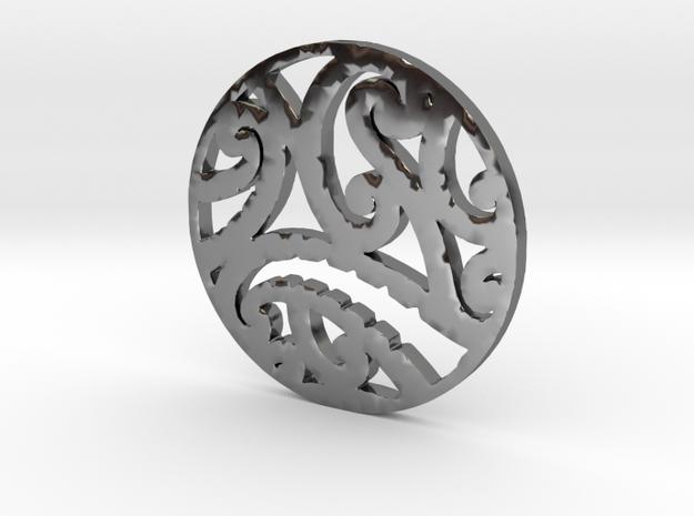 Maori koru tribal pendant design in Fine Detail Polished Silver