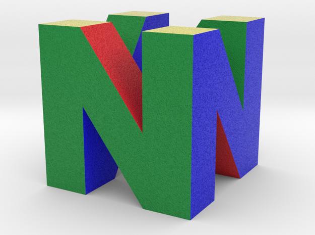 "N64 Logo - 2"" Cube Desk Object in Full Color Sandstone"