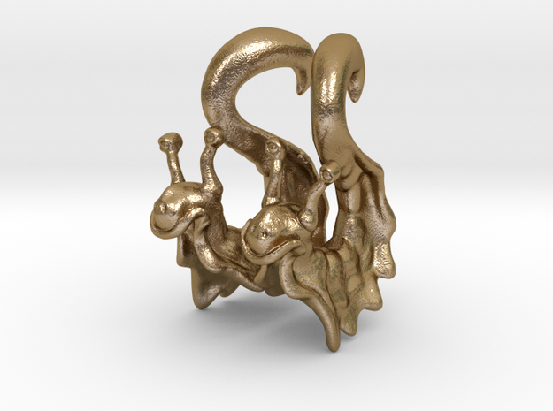 Happy Snail Hanging Design (select a size) in Polished Gold Steel