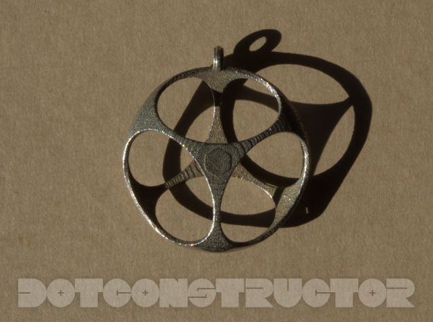 Cubic Shell Pendant W/ Hoop in Polished Bronzed Silver Steel