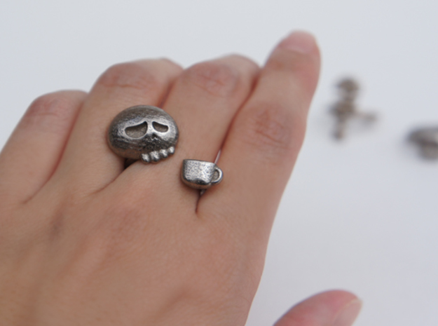 Coffee Drinker Ring - size 6.5 in Stainless Steel