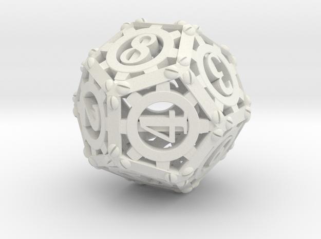 Steampunk d12 in White Natural Versatile Plastic