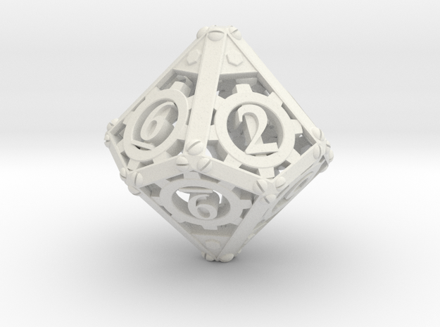 Steampunk d10 in White Natural Versatile Plastic