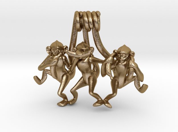 Three wise monkeys in Polished Gold Steel
