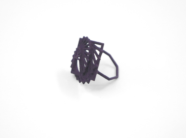 Arithmetic Ring (US Size 8) 3d printed Midnight Nylon (Custom Dyed Color)