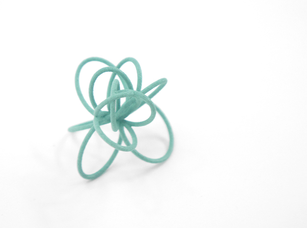Flora Ring B (Size 7) 3d printed Teal Nylon (Custom Dyed Color)