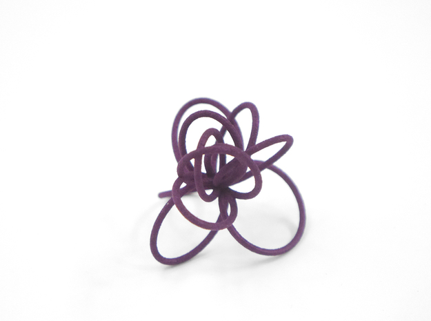 Flora Ring B (Size 9) 3d printed Eggplant Nylon (Custom Dyed Color)