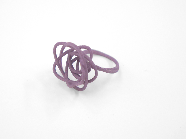 Sprouted Spiral Ring (Size 6) 3d printed Wisteria Nylon (Custom Dyed Color)