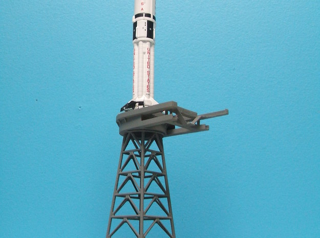 1/400 Saturn 1B MLP, Apollo launch pad 3d printed Overall shot showing MLP & Milkstool.