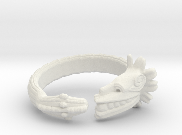 Anillo Quetzalcoatl in White Natural Versatile Plastic