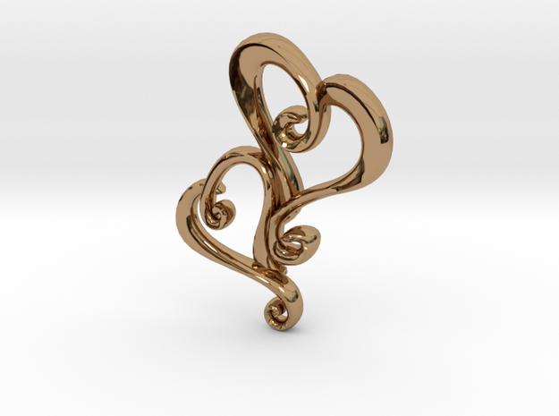 Swirly Hearts Pendant/Keychain in Polished Brass