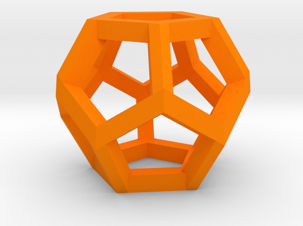 Dodecahedron charm Large in Orange Processed Versatile Plastic